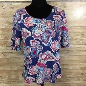 Chico's paisley floral mandala tee colorful med